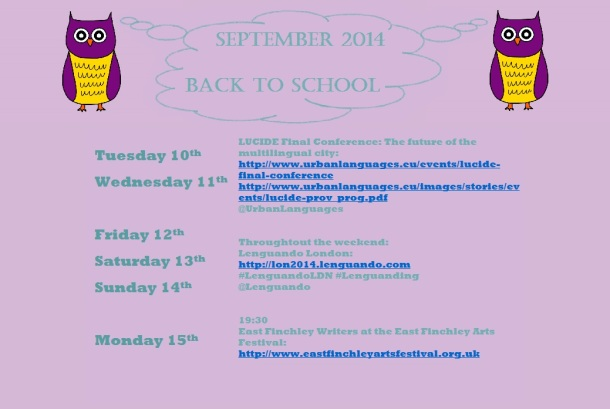 Back to school. September 2014 schedule.